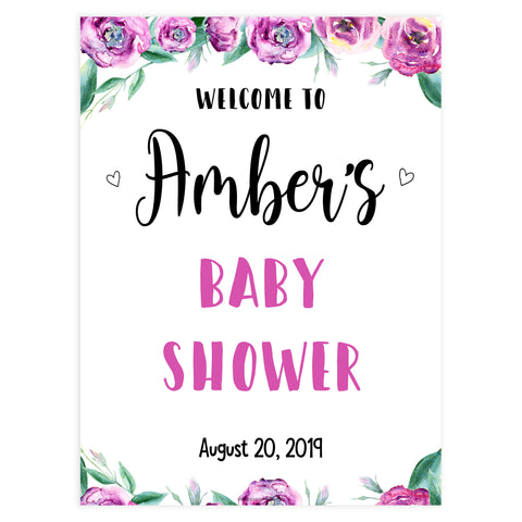baby shower welcome sign, printable baby welcome sings, purple peonies baby shower signs, baby welcome signs