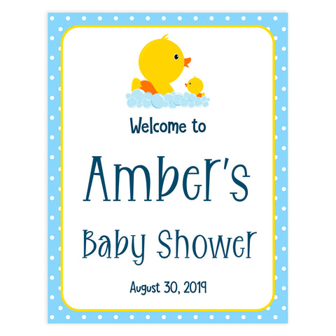 baby welcome signs, printable baby shower welcome signs, rubber ducky baby shower signs, rubber ducky baby table signs
