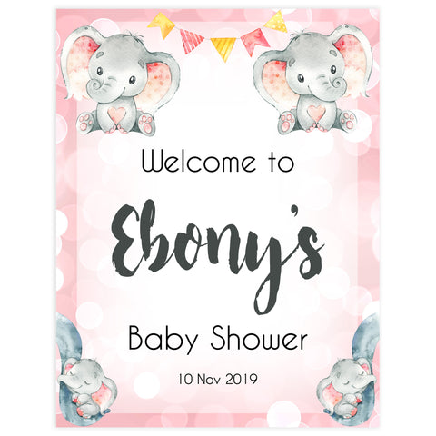 pink elephants baby shower welcome sign, printable baby shower welcome signs, fun baby shower decor, pink baby shower ideas, elephant baby shower ideas