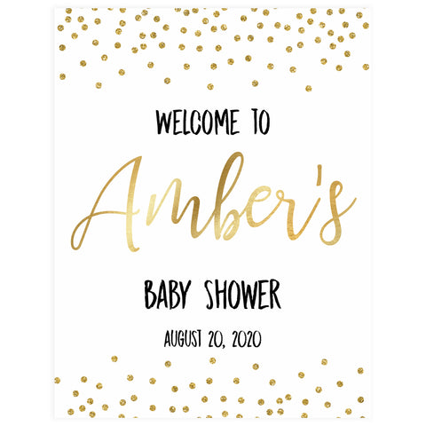baby shower welcome sign, printable baby welcome sign, gold glitter baby shower, gold glitter baby welcome sign, fun baby shower ideas, top baby ideas,