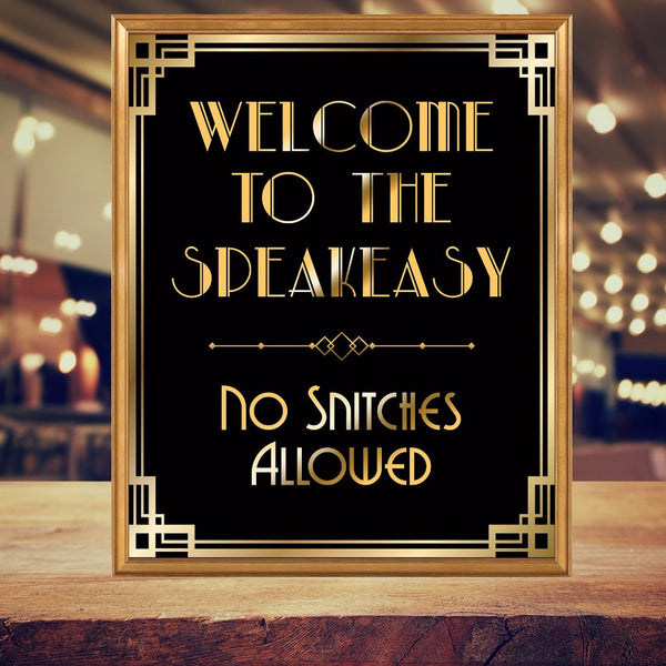 Welcome to Speakeasy Gold and Black sign printable