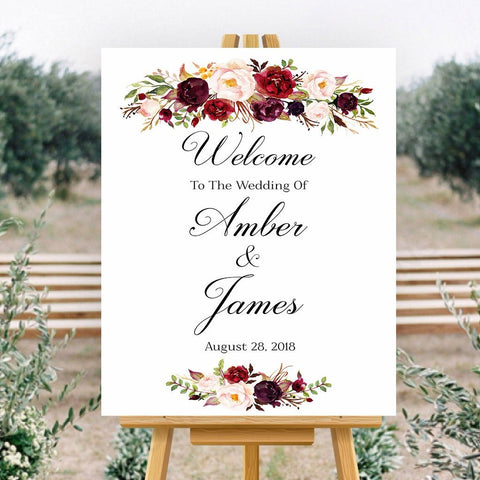 Welcome To Our Wedding Sign marsala floral White Sign Printable