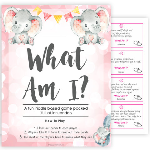pink elephant baby games, what am I baby shower games, printable baby shower games, baby shower games, fun baby games, popular baby games, pink baby games