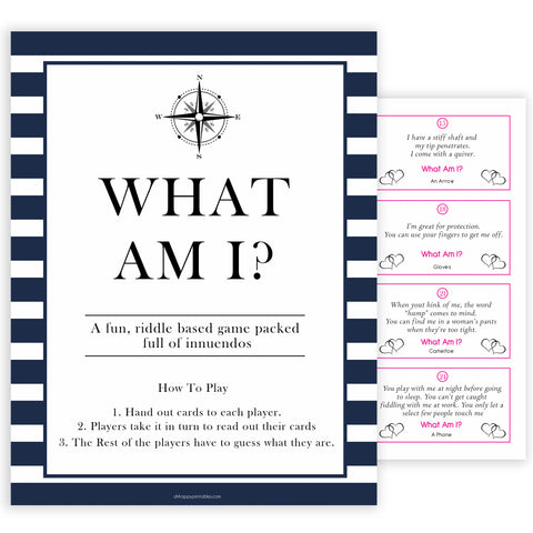 Nautical baby shower games, what am I, riddle game,  baby shower games, printable baby shower games, baby shower games, fun baby games, ahoy its a boy, popular baby shower games, sailor baby games, boat baby games
