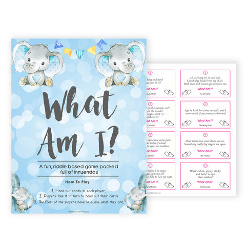 Blue elephant baby games, what am I, elephant baby games, printable baby games, top baby games, best baby shower games, baby shower ideas, fun baby games, elephant baby shower