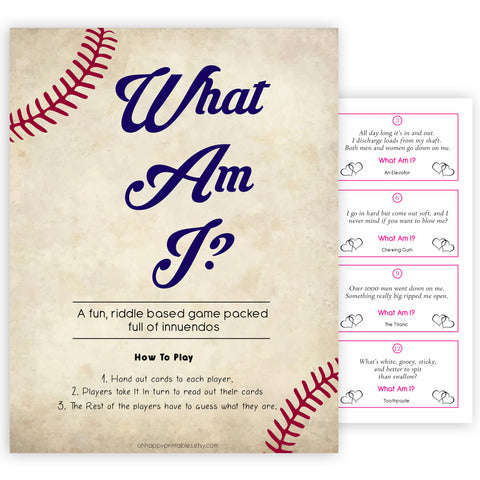 24 What Am I Innuendo Baby Shower Games, Baseball Innuendo Riddle Baby Shower Games, What Am I Games, Baby Games, Adult Baby Shower, printable baby shower games, fun baby shower games, popular baby shower games
