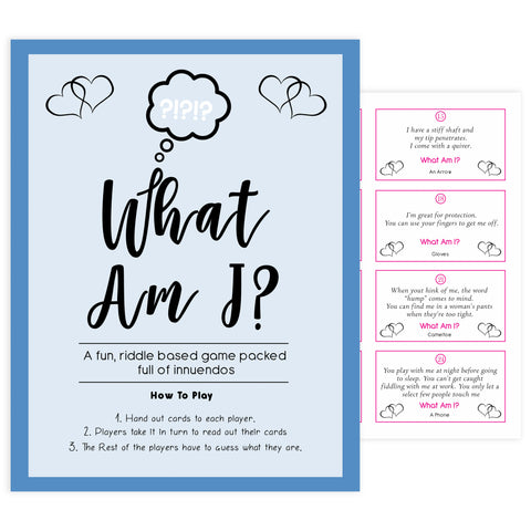 what am I game, Printable baby shower games, small blue hearts fun baby games, baby shower games, fun baby shower ideas, top baby shower ideas, silver baby shower, blue hearts baby shower ideas