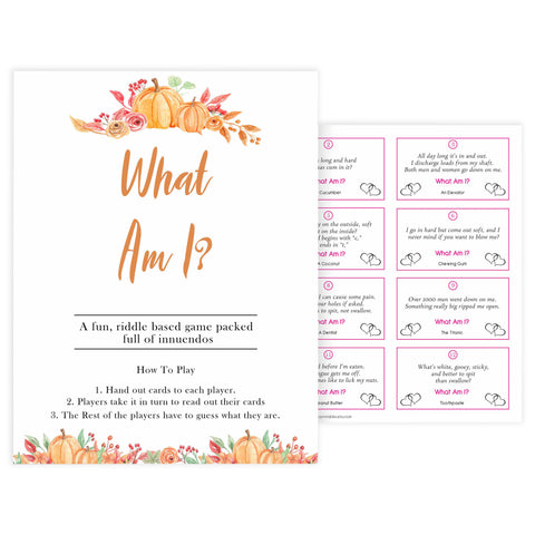 Fall pumpkin baby games, what am I, printable baby games, fall baby shower, pumpkin baby shower, autumnal baby games, top 10 baby games, best baby games