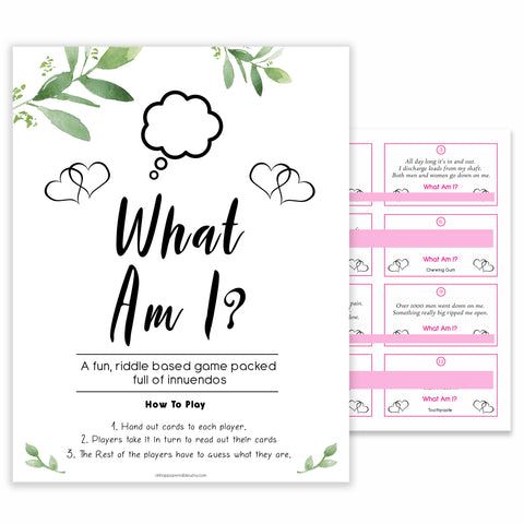24 What Am I Innuendo Baby Shower Games, Innuendo Riddle Botanical Baby Shower Games, What Am I Games, Baby Games, Adult Baby Shower