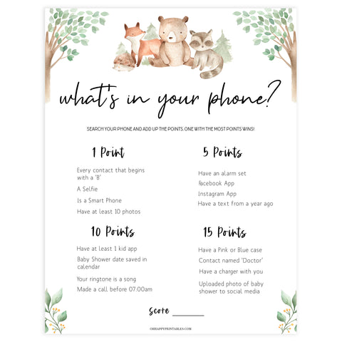 whats in your phone baby game, Printable baby shower games, woodland animals baby games, baby shower games, fun baby shower ideas, top baby shower ideas, woodland baby shower, baby shower games, fun woodland animals baby shower ideas