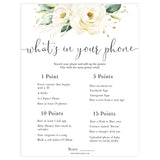 editable whats your phone game, Printable baby shower games, shite floral baby games, baby shower games, fun baby shower ideas, top baby shower ideas, floral baby shower, baby shower games, fun floral baby shower ideas