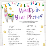 whats in your phone baby game, baby games,  Printable baby shower games, llama fiesta fun baby games, baby shower games, fun baby shower ideas, top baby shower ideas, Llama fiesta shower baby shower, fiesta baby shower ideas