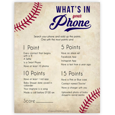 Whats In Your Phone Baby Shower Game, Baseball Baby Games, Baby Shower Games, Baseball Whats on Your Phone, Baby Shower Phone Game, printable baby shower games, fun baby shower games, popular baby shower games