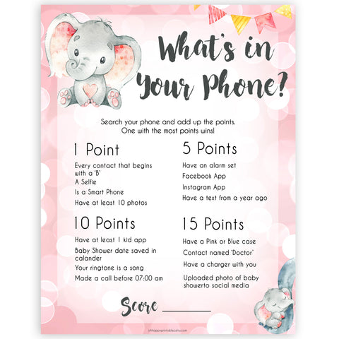 pink elephant baby games, whats in your phone baby shower games, printable baby shower games, baby shower games, fun baby games, popular baby games, pink baby games