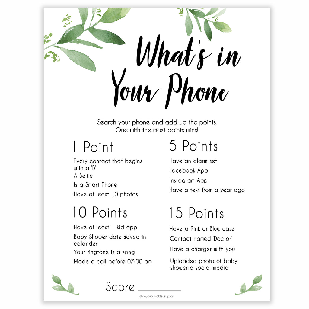 photo relating to What's in Your Phone Baby Shower Game Free Printable referred to as Whats In just Your Telephone Recreation - Botanical Youngster Shower Game titles