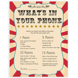Circus whats in your phone baby shower games, circus baby games, carnival baby games, printable baby games, fun baby games, popular baby games, carnival baby shower, carnival theme