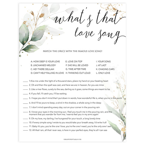 whats that love song game, Printable bridal shower games, greenery bridal shower, gold leaf bridal shower games, fun bridal shower games, bridal shower game ideas, greenery bridal shower