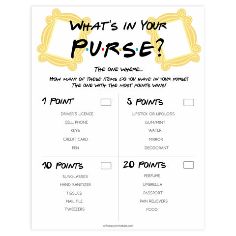 whats in your purse, bridal whats in your purse game, Printable bridal shower games, friends bridal shower, friends bridal shower games, fun bridal shower games, bridal shower game ideas, friends bridal shower