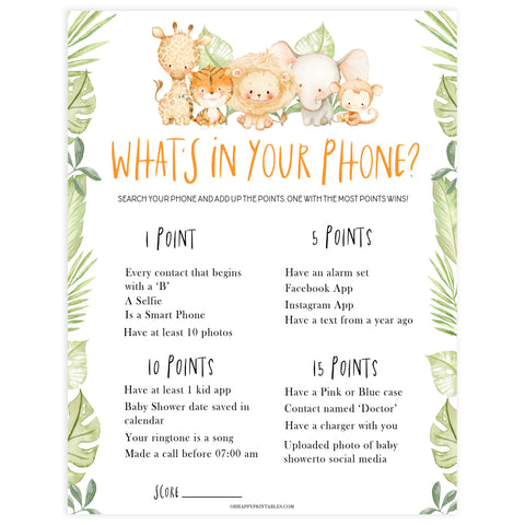 whats in your phone game, Printable baby shower games, safari animals baby games, baby shower games, fun baby shower ideas, top baby shower ideas, safari animals baby shower, baby shower games, fun baby shower ideas