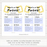 whats in your phone game, bridal whats in your phone, Printable bridal shower games, friends bridal shower, friends bridal shower games, fun bridal shower games, bridal shower game ideas, friends bridal shower