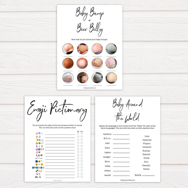 7 baby shower games, printable baby games, gender neutral baby shower games, white printable baby shower games, popular baby games, fun baby games