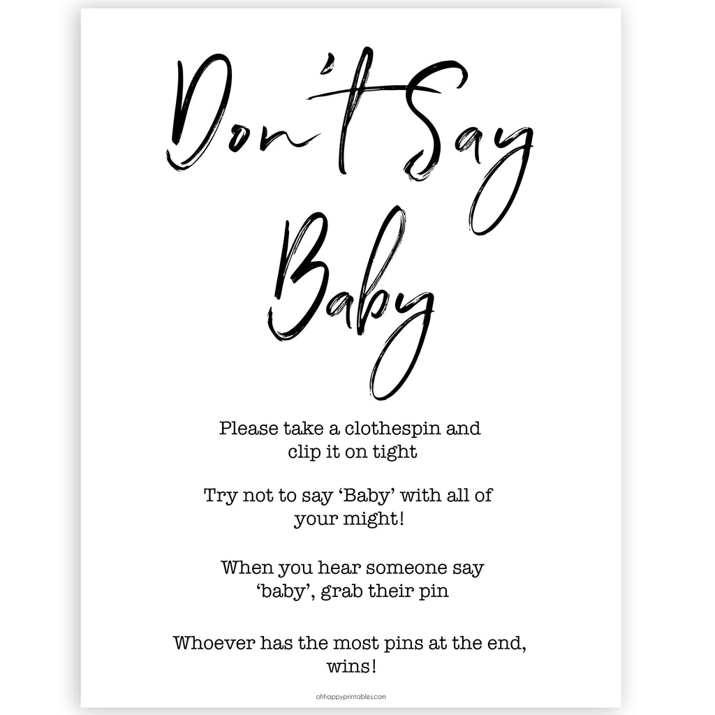 photo relating to Don't Say Baby Printable known as Dont Say Kid Sport - Printable Gender Impartial Youngster Shower