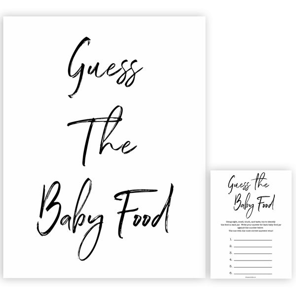 White Gender Neutral Baby Shower Guess The Baby Food, White Baby Shower Guess The Baby Food, White Baby Shower Games, Guess The Baby Food , fun baby games, popular baby game