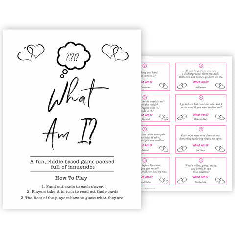 White Gender Neutral 24 What Am I Innuendo Baby Shower Games, Innuendo Riddle Baby Shower Games, What Am I Games, Gold Adult Baby Shower, fun baby games, popular baby games