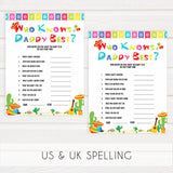 who knows daddy best game, Printable baby shower games, Mexican fiesta fun baby games, baby shower games, fun baby shower ideas, top baby shower ideas, fiesta shower baby shower, fiesta baby shower ideas
