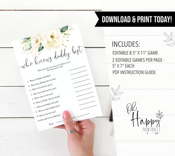 Editable who knows daddy best game, Printable baby shower games, shite floral baby games, baby shower games, fun baby shower ideas, top baby shower ideas, floral baby shower, baby shower games, fun floral baby shower ideas