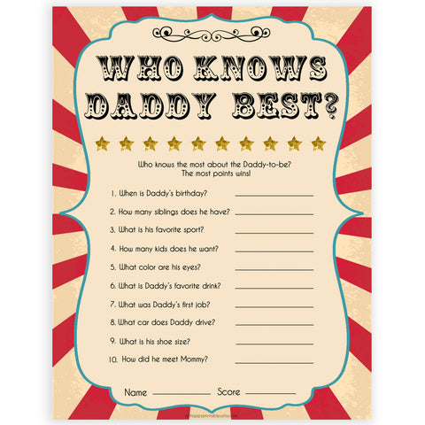 Circus who knows daddy best baby shower games, circus baby games, carnival baby games, printable baby games, fun baby games, popular baby games, carnival baby shower, carnival theme