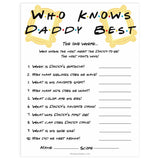 who knows daddy best game, Printable baby shower games, friends fun baby games, baby shower games, fun baby shower ideas, top baby shower ideas, friends baby shower, friends baby shower ideas