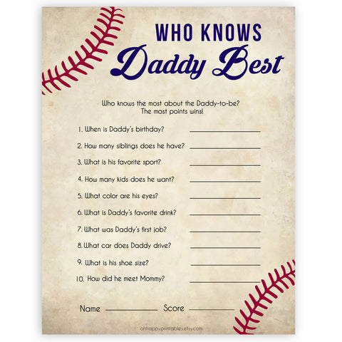 Who Knows Daddy Best Game, Baseball Baby Shower Games, Knows Daddy Games, Baby Shower Games, Who Knows Daddy, Who Knows Daddy Game, printable baby shower games, fun baby shower games, popular baby shower games