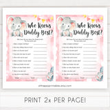 pink elephant baby games, who knows daddy best baby shower games, printable baby shower games, baby shower games, fun baby games, popular baby games, pink baby games