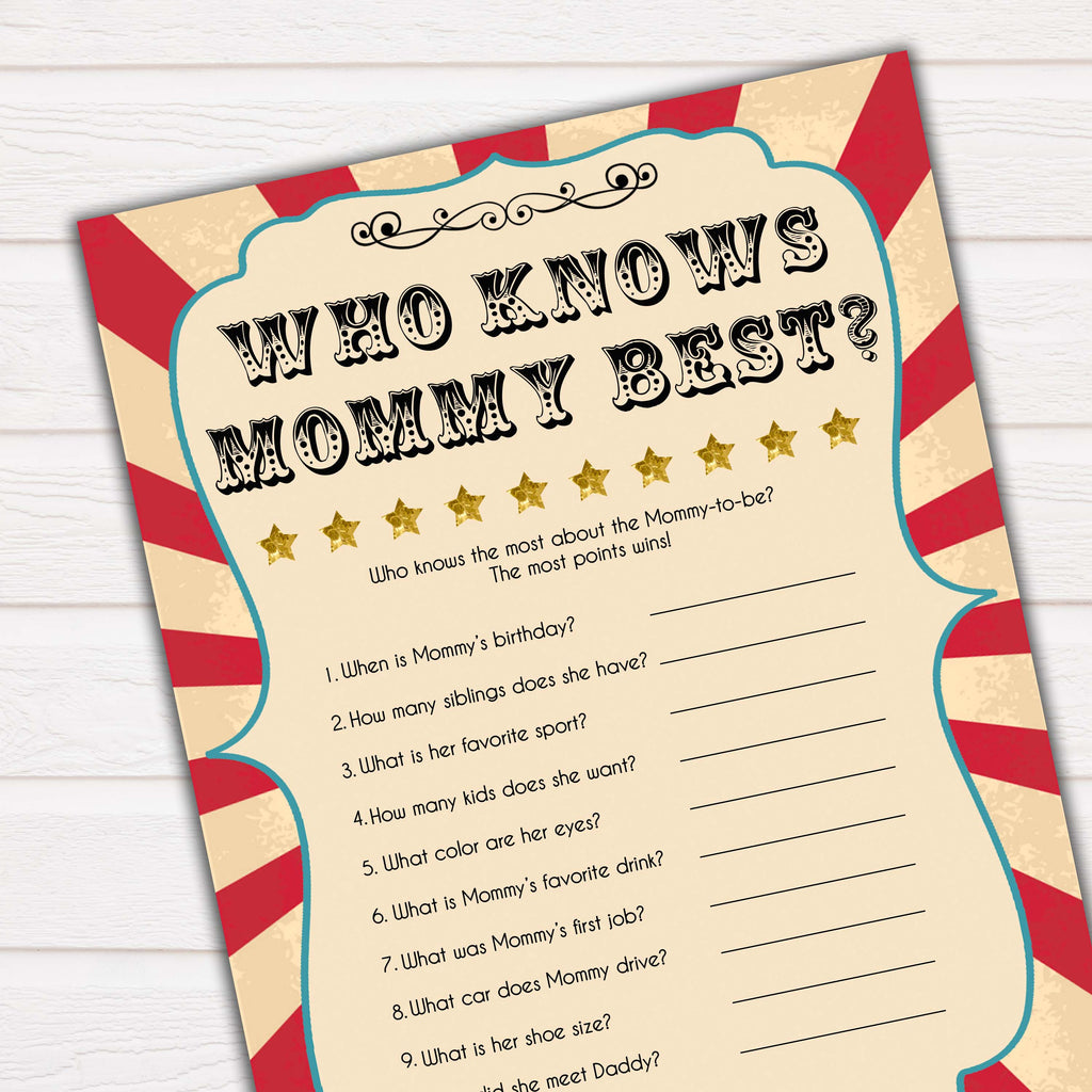 photo relating to Who Knows Mommy Best Printable named Who Is aware of Mommy Most straightforward Match - Circus