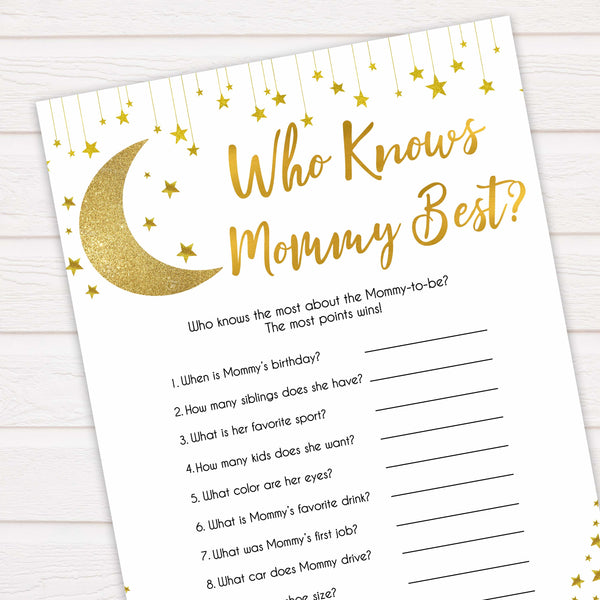 Twinkle Little Star Who Knows Mommy Best Quiz, Baby Shower Games, Knows Mummy Games, Baby Shower Games, Little Star Baby Shower Games, fun baby games, popular baby games