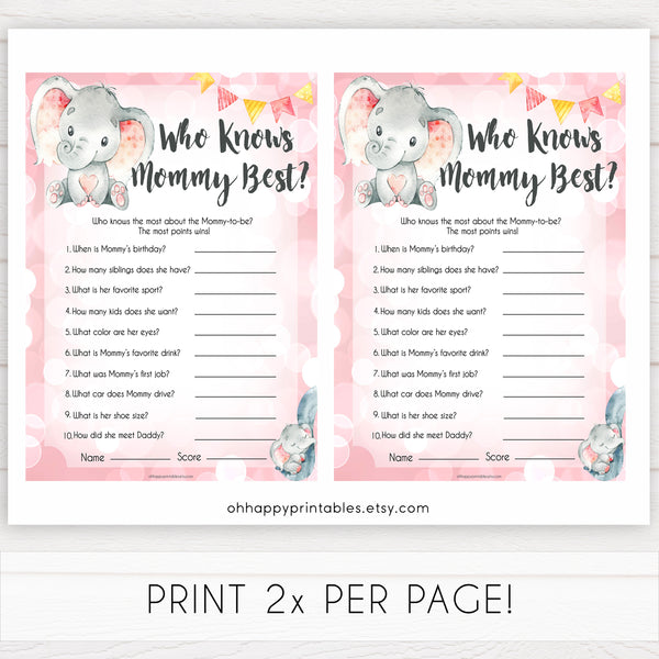 pink elephant baby games, who knows mummy best baby shower games, printable baby shower games, baby shower games, fun baby games, popular baby games, pink baby games