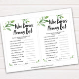 Botanical Who Knows Mommy Best Quiz, Baby Shower Games, Knows Mummy Games, Greenery Baby Shower Games, Green Fun Baby Shower Games