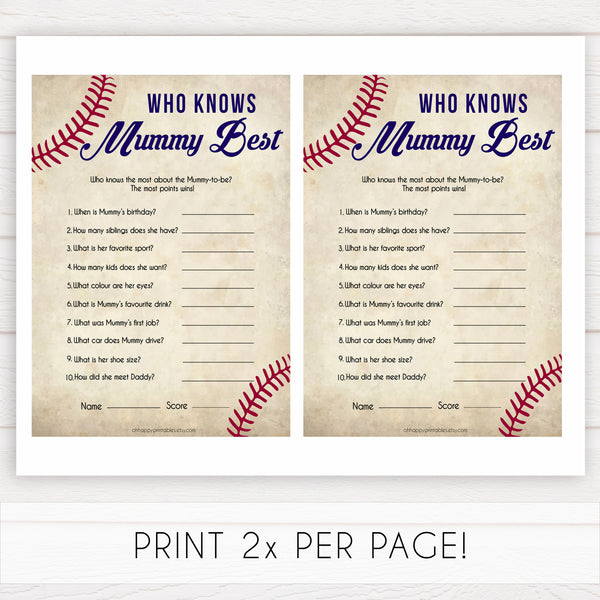 Baseball Who Knows Mommy Best Quiz, Baby Shower Games, Knows Mummy Games, Baseball Baby Shower Games, Fun Baby Shower Games, printable baby shower games, fun baby shower games, popular baby shower games