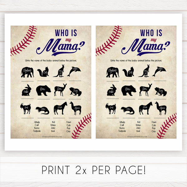 Who is My Mama Baby Shower Game, Baseball Who is My Mommy, Baby Animal Game, Baby Shower Games, Who is My Mama, Who is My Mommy Game, printable baby shower games, fun baby shower games, popular baby shower games