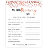 rose gold who knows mommy best, who knows mummy best, fun baby shower games, popular baby shower games, printable baby shower games