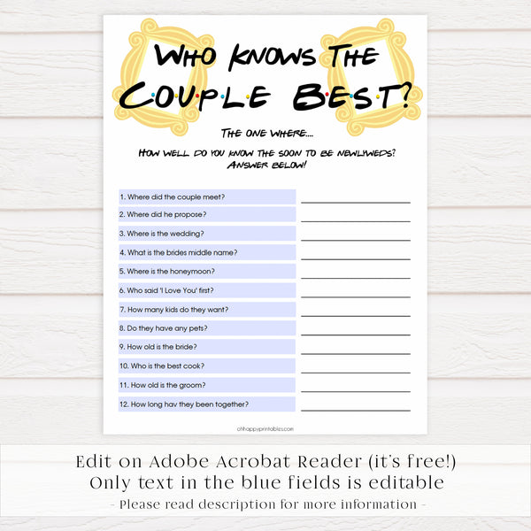 Editable who knows the couple best, Printable bridal shower games, friends bridal shower, friends bridal shower games, fun bridal shower games, bridal shower game ideas, friends bridal shower