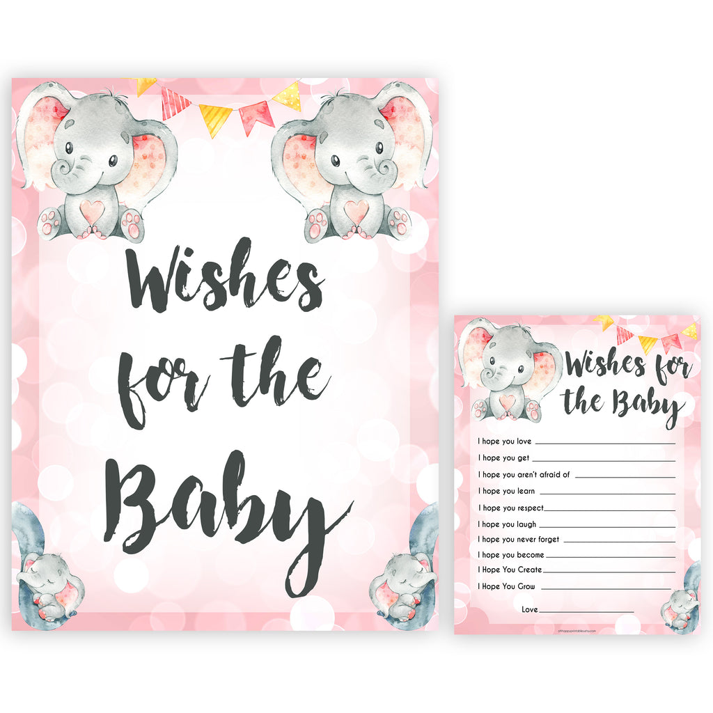 Wishes For The Baby Pink Elephant Printable Baby Shower Games Ohhappyprintables