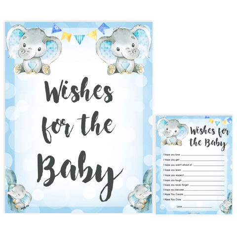 Blue elephant baby games, wishes for the baby, elephant baby games, printable baby games, top baby games, best baby shower games, baby shower ideas, fun baby games, elephant baby shower