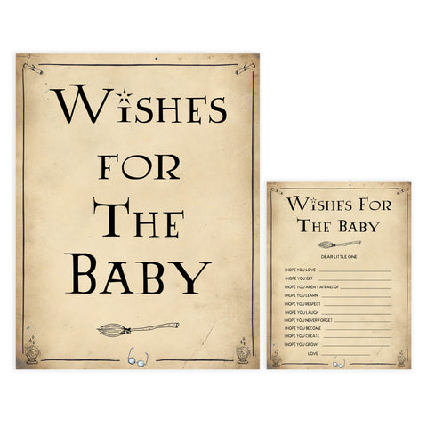 Wishes for the baby game, Wizard baby shower games, printable baby shower games, Harry Potter baby games, Harry Potter baby shower, fun baby shower games,  fun baby ideas