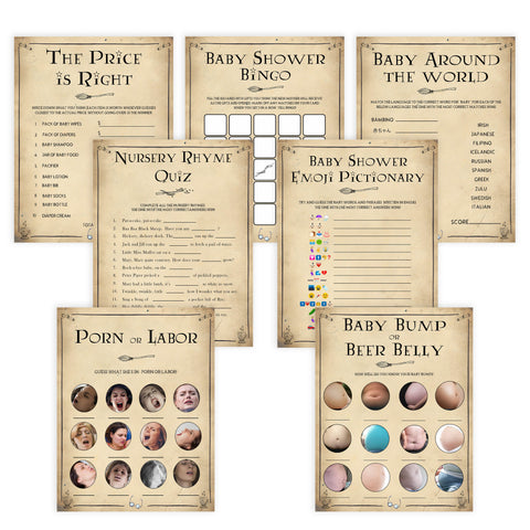 7 Wizard baby shower games, printable baby shower games, Harry Potter baby games, Harry Potter baby shower, fun baby shower games,  fun baby ideas
