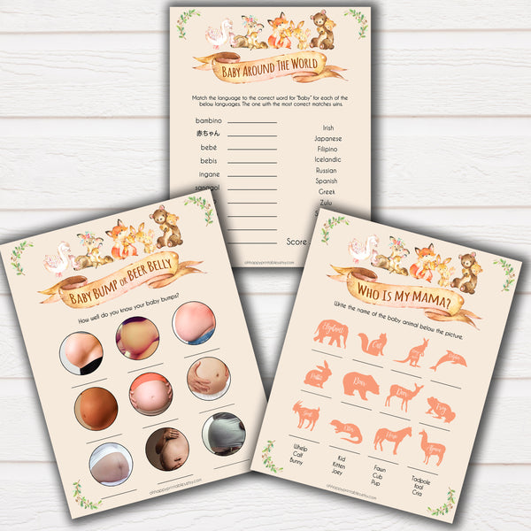 Woodland animals 5 best baby shower games, baby shower games, baby shower ideas, woodland animals