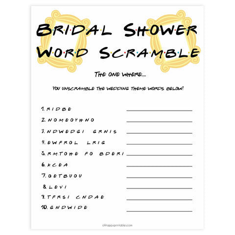bridal word scramble, bridal shower word scramble, Printable bridal shower games, friends bridal shower, friends bridal shower games, fun bridal shower games, bridal shower game ideas, friends bridal shower
