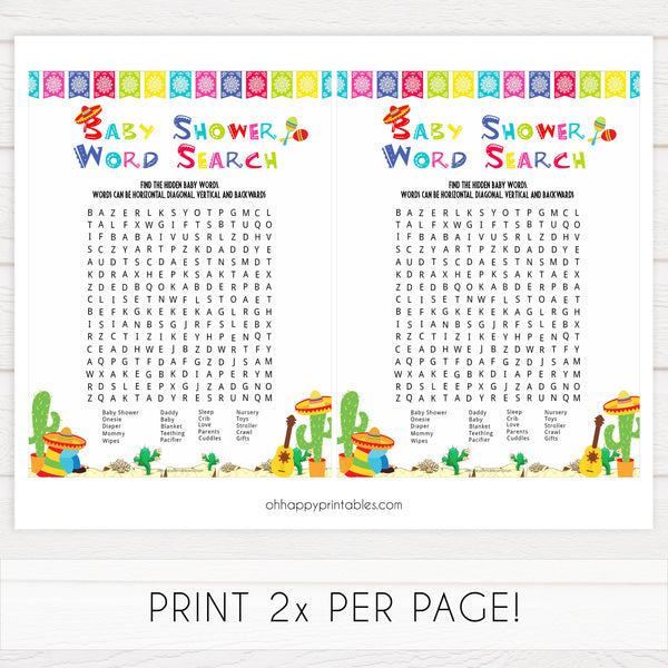baby shower word search game, Printable baby shower games, Mexican fiesta fun baby games, baby shower games, fun baby shower ideas, top baby shower ideas, fiesta shower baby shower, fiesta baby shower ideas