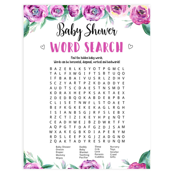 baby shower word search, printable baby shower games, purple peonies baby games, baby word search game, fun baby shower ideas